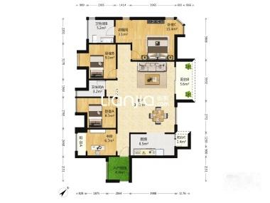 板式结构,通透户型,三房加书房,美式风格,装修60多万