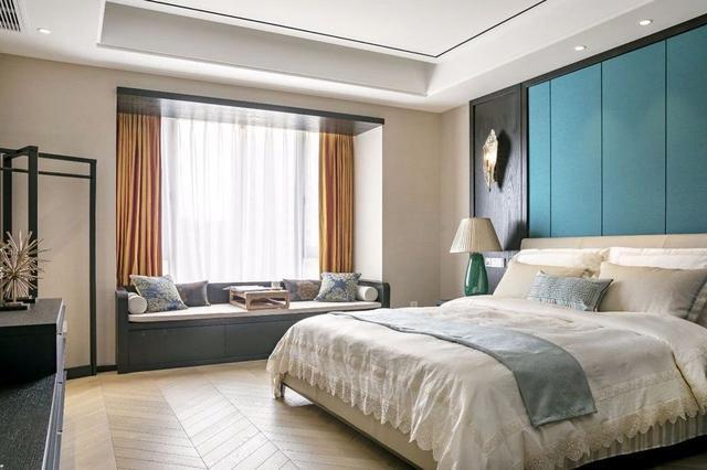 203平轻奢新中式装修效果图,中式屏风 六角窗真漂亮