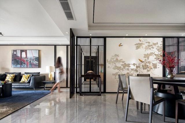 203平轻奢新中式装修效果图,中式屏风+六角窗真漂亮
