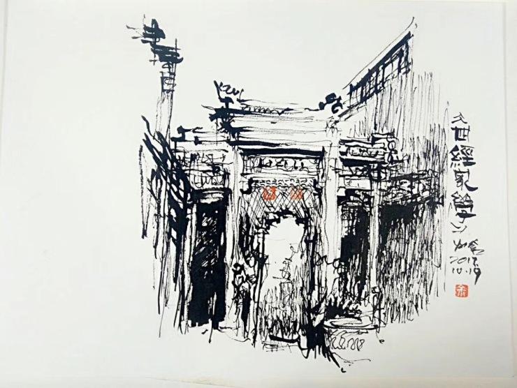 立体风景绘画素描小屋