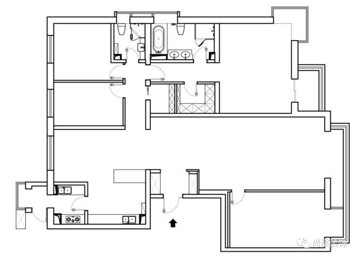 原始房屋结构痛点 房子的原始结构是四室一厅的结构,一个客厅四间