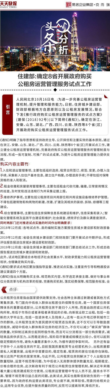 地产天天报 10月18日|住建部:确定8省开展政府购买公租房运营管理服务试点工作