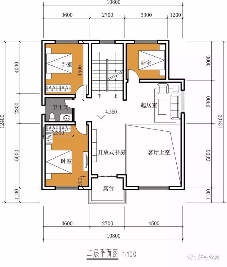 挑空客厅 大露台,11x12米三层优雅欧式别墅丨建筑师作品展