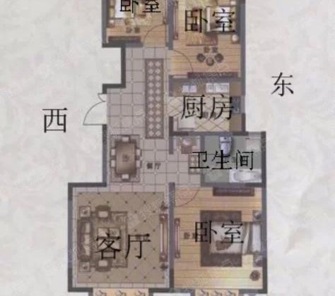 蓟望府4楼95.54平米三室两厅毛坯150万