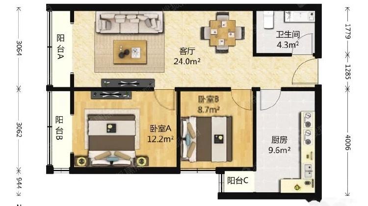 西二环 鹏润家园 万润风景 南向两居室 小户型 低总价