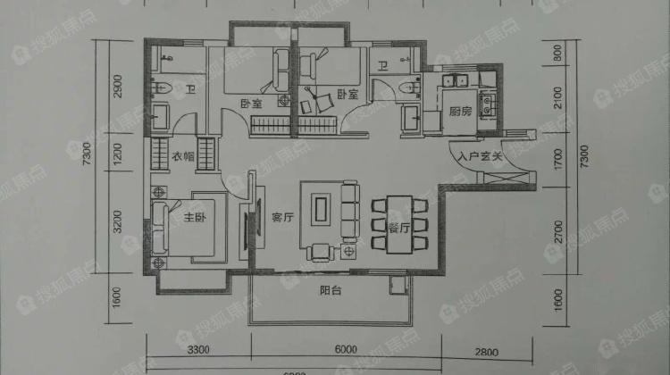鸿福地铁口 尚书银座 精装三房 户型方正 采光好