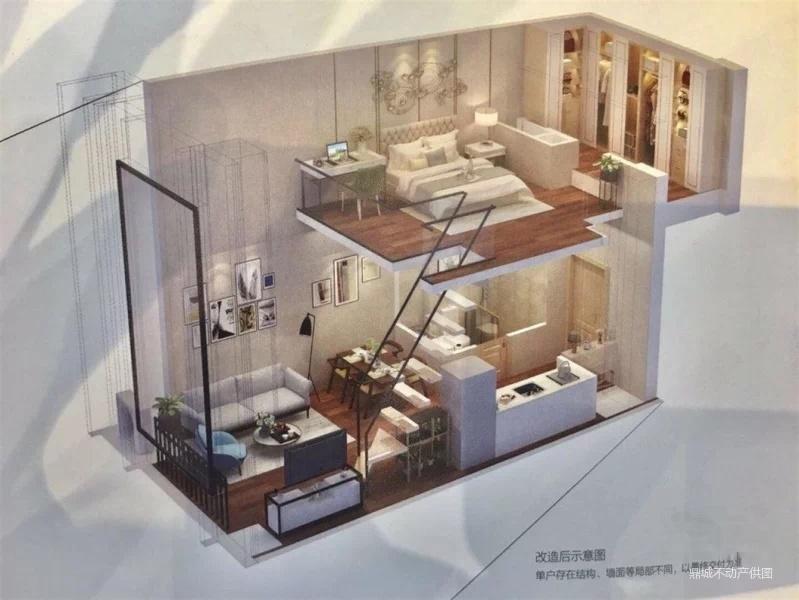 园区东精装修复式挑高公寓,总价40万 面积45平,首付万