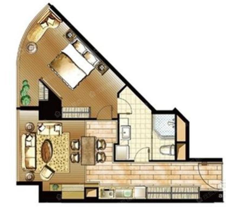 户型解析: 厨房:共1个厨房,开放式设计