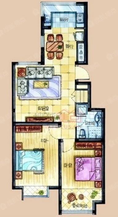 二期標準層兩室一廳一衛一廚約90.67-92.29平c圖片