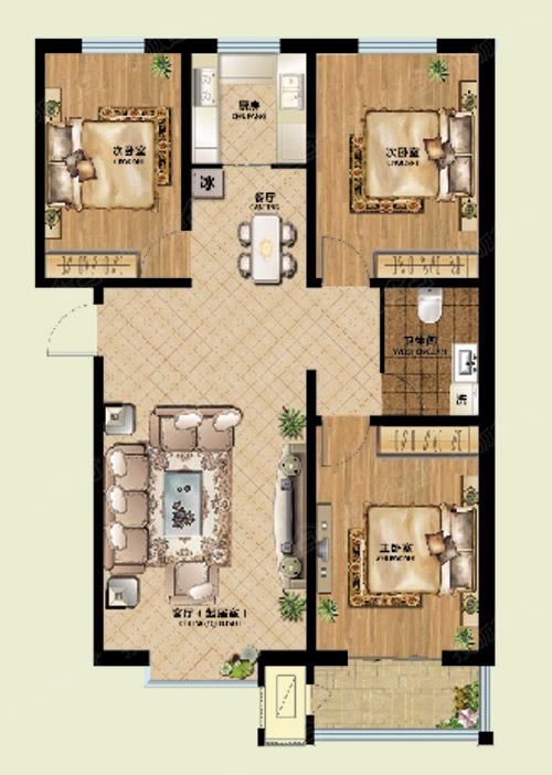 洪恩尚品三室两厅一厨一卫126.5平米户型图