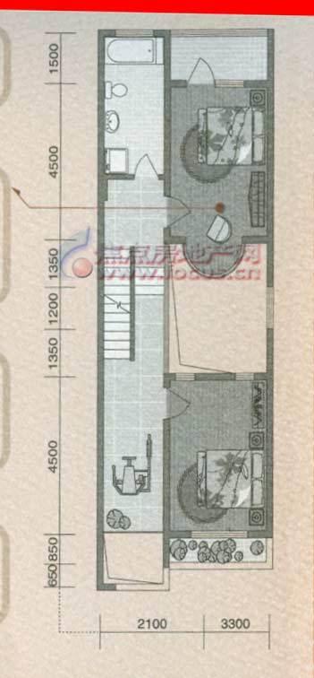 大通绿岛家园c二层平面图三室二厅二卫共221.65平米
