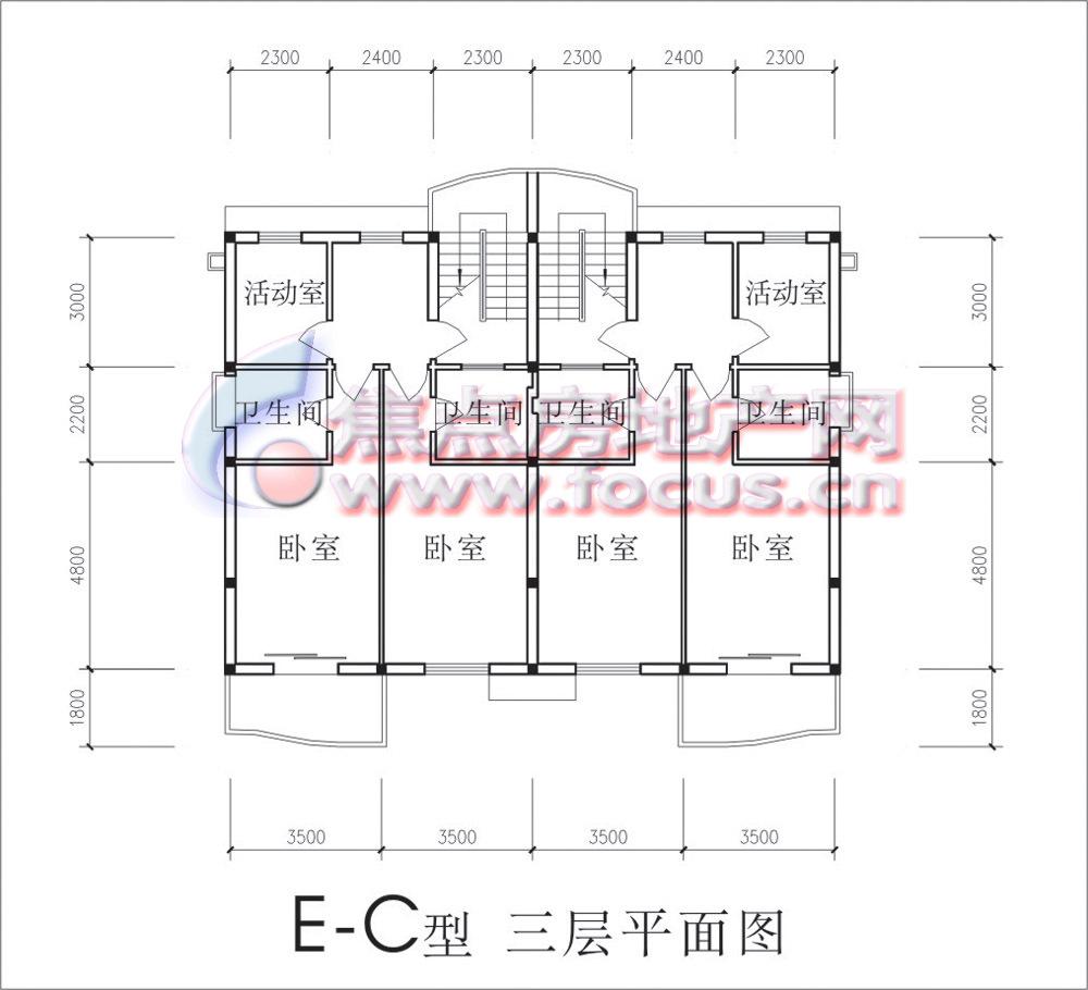 长泰豪园双拼e-c型三层平面图