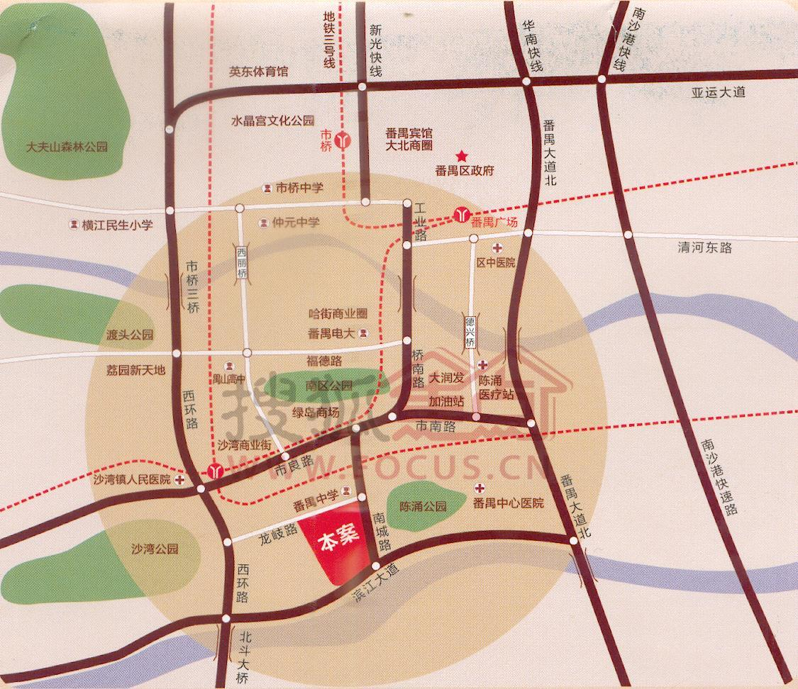 越秀公园手绘地图