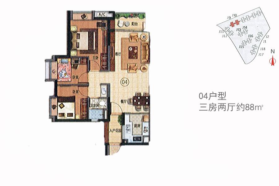 万科幸福誉j9/j10 04_万科幸福誉户型图-广州搜狐焦点图片