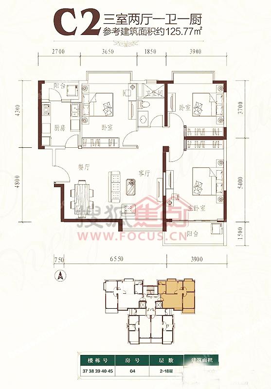 恒大绿洲 户型图 二期c2户型3室2厅1卫1厨 125.77平米