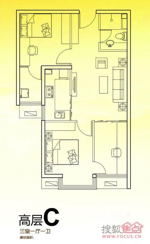 北辰商务花园 三室一厅一卫高层c