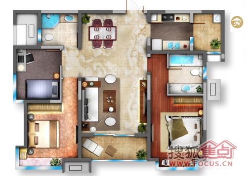 名门华都三室两厅两卫120.33平户型