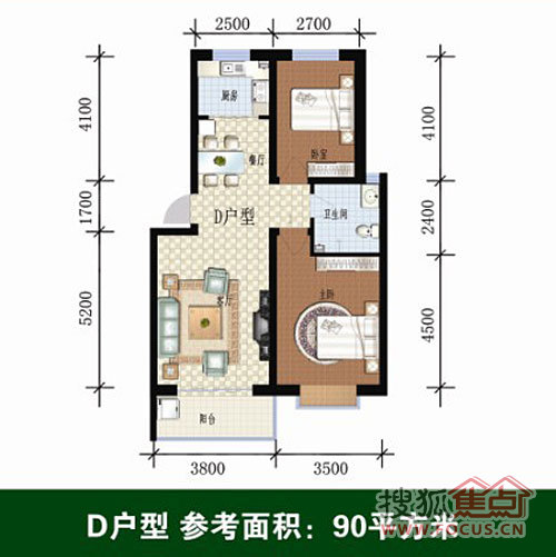 家和苑家和苑 两室两厅一卫90平米d_家和苑户型图