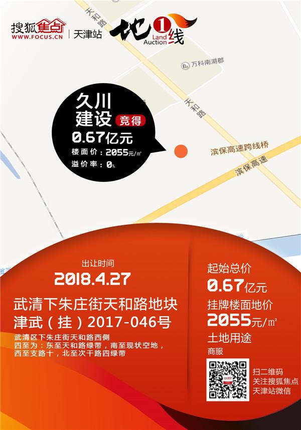 全部底价!久川0.67亿摘武清商服 碧桂园6.2亿摘两地
