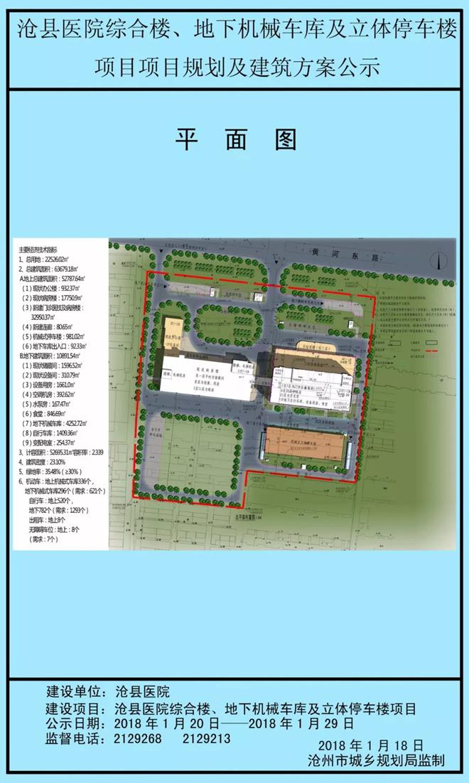 沧县医院综合楼、地下机械车库及立体停车楼项目规划建筑方案公示