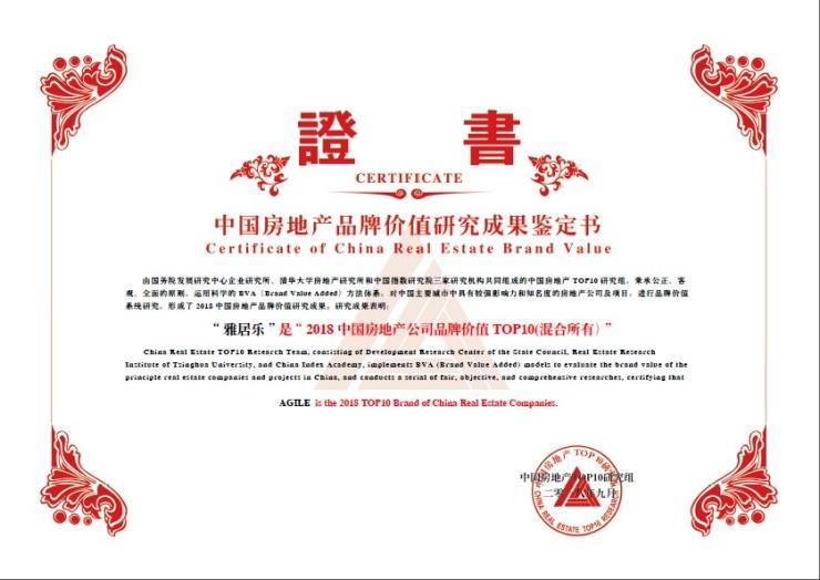 排名持续上升,雅居乐荣膺中国房地产公司品牌价值4强
