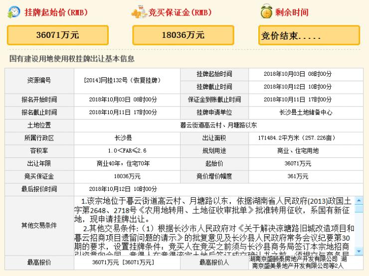 长沙县3宗商住地块皆底价成交 暮云将增数所中小学