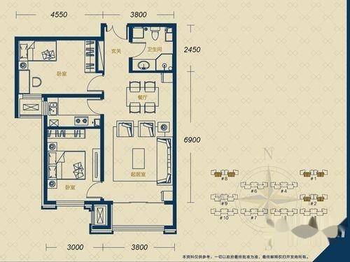 加州郡府·融邦户型图B-1户型2室2厅1卫1厨