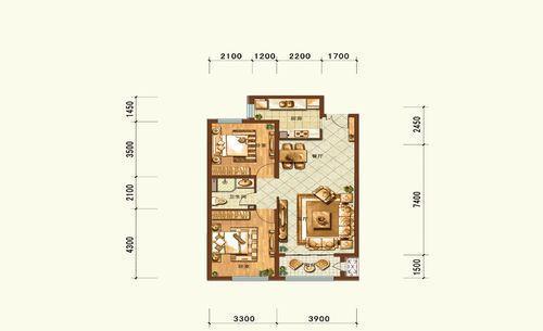 维多利大商城户型图一期11-12号楼B2户型2室2厅1卫1厨