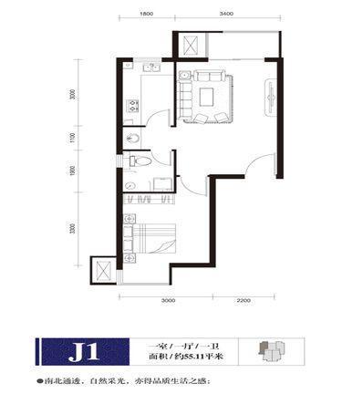 钢院学府户型图J1户型1室1厅1卫1厨