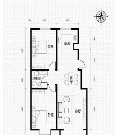 假日风景户型图小高层户型-032室2厅2卫2厨